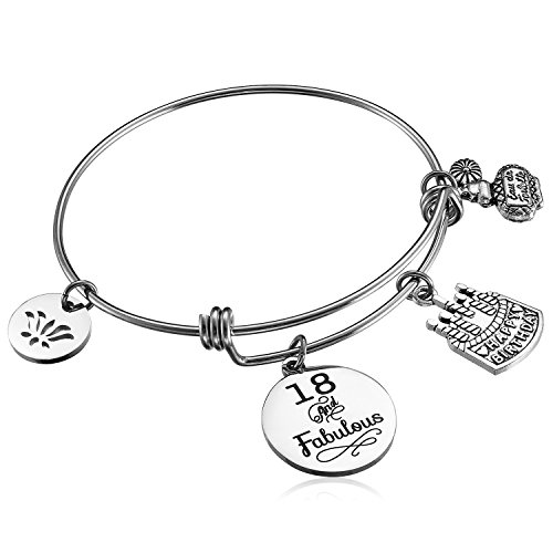 Alxeani Happy Birthday Gifts for Women Expandable Bangle Bracelet 18th 40th 50th 60th 70th 90th Best Friend Bracelet Anniversary Gift for $<!--$14.99-->