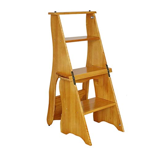 JTDBO Folding Step Stool, Wooden 4-Step Ladder, Non-Slip Multi-Function Library, Bedroom, Living Room, Easy to Store 34 X 49 X 85 cm
