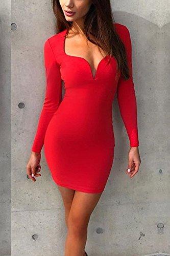 Vestido De Bajo Larga Profunda Manga De Fiesta Corte Red Bodycon Elegante Mujer Sólido De V Caliente 8qBgd8w