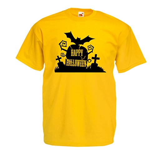 Halloween Costume Ideas Grumpy Cat (T shirts for men Halloween Graveyard Outifts - Costume Ideas - Cool Horror Design (X-Large Yellow Multi Color))