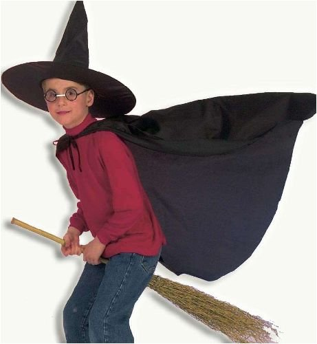 Zauberlehrling m Hut Zauberer Umhang Kinder Kostüm Gr 104-116
