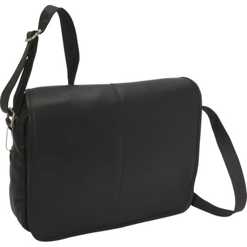 David King Flap Over Laptop Messenger Bag w/ Back Trolley Pocket in Black (David Small Flap King)