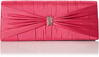Jessica McClintock Bow Chain Clutch,Shocking Pink,One Size