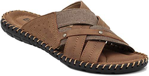 Enzo Romeo JM3 Men Summer Casual Slipper Slide Sandals Slides Clogs Shoes (12 D(M) US, Brown 03)