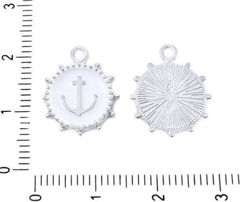4pcs Antique Silver Tone Anchor Ship Wheel Navy Maritime Round Flat Pendants Charms Bohemian Metal Findings 16mm x 14mm Hole 1mm from Jewelry Findings & Tools