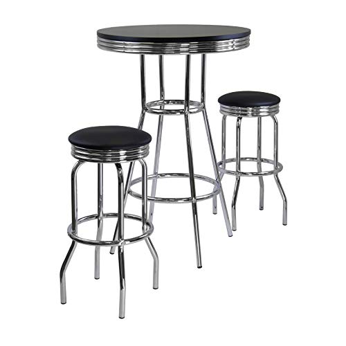 Winsome Summit Pub Table and 2 Swivel Stool Set, 3-Piece ()