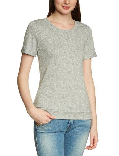 Vero Moda - Camiseta con cuello redondo de manga corta para mujer Gris (Lt Grey Melange)