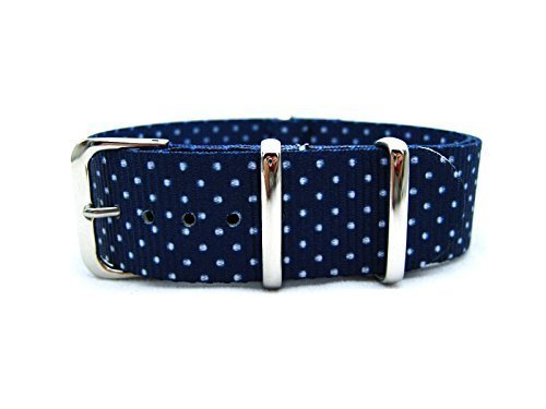HNS 20mm G10 Double Graphic Printed White Dots Navy Nylon Watch Strap Polished SS Buckle NT050