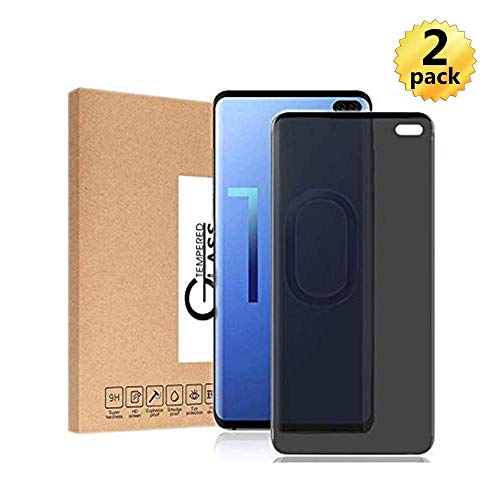 S10 Plus Privacy Screen Protector 3D Curved Anti-Scratch 9H Hardness Tempered Glass Film Anti Spy 6.4 Bubble Free for Samsung Galaxy S10 Plus (2PC)
