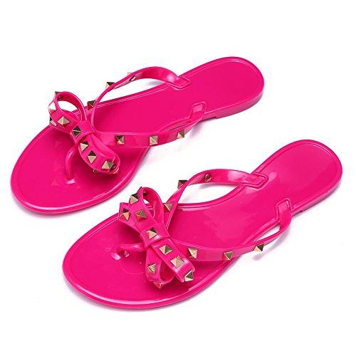 885367690995 Qilunn Womens Bow Flip Flop Sandals