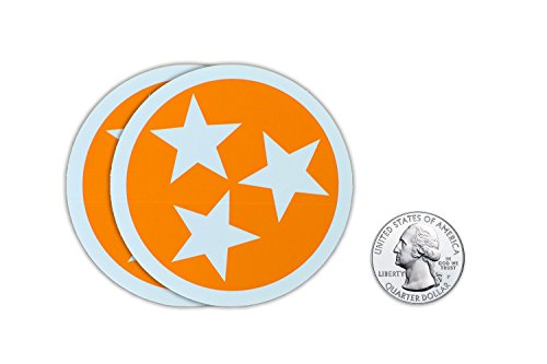 2 for $3.99 TN Tristar Decals - Tennessee Bumper (Star Decals For Cars)