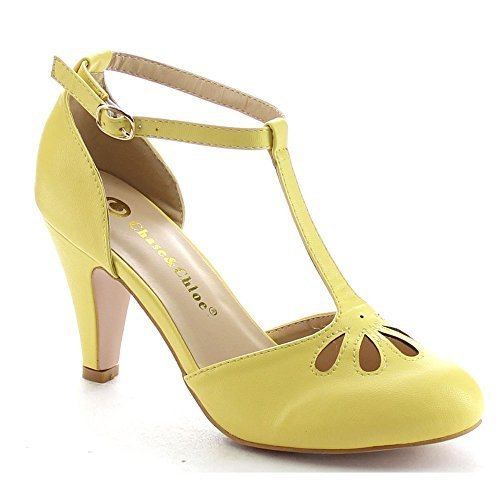 Chase & Chloe KIMMY-36 Women's Teardrop Cut Out T-Strap Mid Heel Dress Pumps, Color:Yellow, Size:5.5