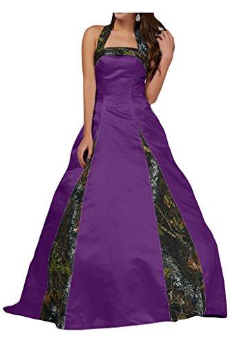 MILANO BRIDE Unique Ball Gown Halter Camo Wedding Party Dress Prom Gown For - Camo Fabric Purple