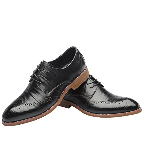 uomo Wingtip Vera uomo Dimensione Scarpe Fang shoes Marrone Matte in da traspirante 43 Estate EU fodere 2018 Carving Brogue Lace Primavera Nero da Color fodera pelle Up Hollow SPx0q6zPwr