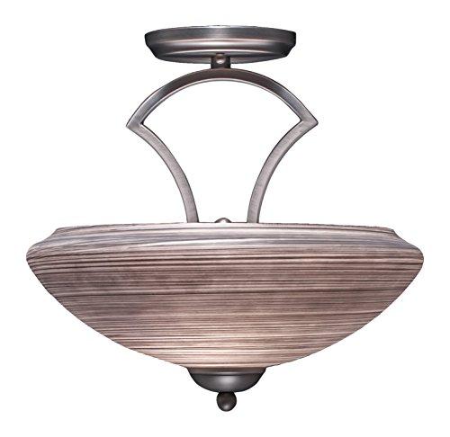 Toltec Lighting 563-GP-685 Zilo Semi Flush with 2 Bulbs with 14″ Zilo Gray Linen Glass, Graphite Finish