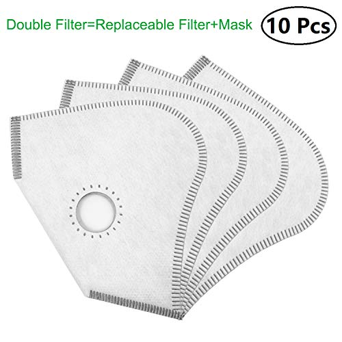 Replacement Dust Mask Filters-10 Pack Activated Carbon N99 Filters-Adult and Unisex Air Filter for Outdoor Activities