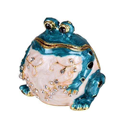 YUFENG Handpainted Trinket Box Hinged Blue Frog Figurine for Wedding Jewelry Ring Holder,Cute Animal Figurine Collectible Table Centerpiece for Girl (Blue Frog)