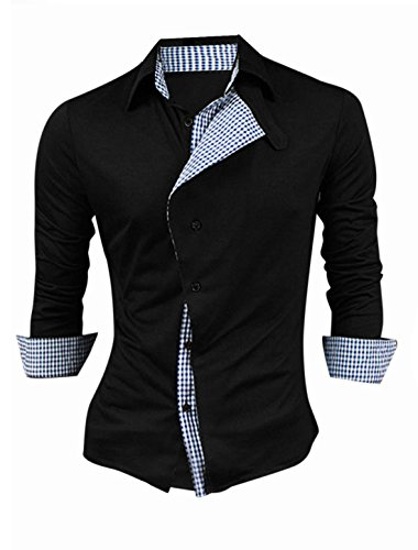 Allegra K Men Button-Tab Point Collar Single Breasted Panel Casual Shirt Large 44 Black