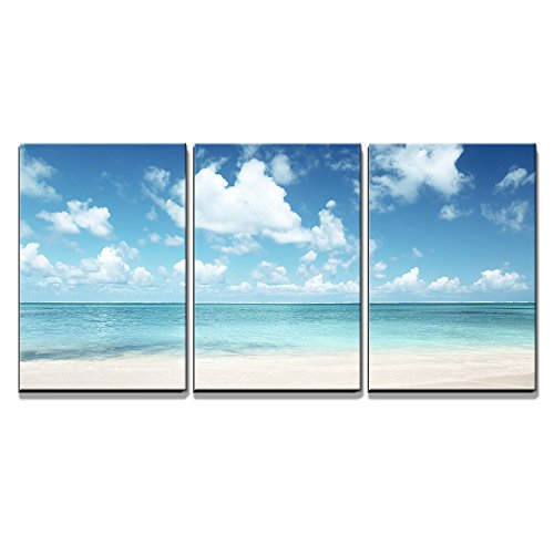 "Wall26 - 3 Piece Canvas Wall Art - Sand of Beach Caribbean Sea - Modern Home Decor Stretched and Framed Ready to Hang - 16""x24\""x3 Panels"