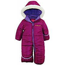 Pink Platinum Baby Girls One Piece Warm Winter Puffer Snowsuit Pram Bunting, Plum, 12 Months