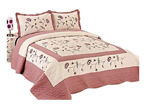 3pcs High Quality Fully Quilted Embroidery Quilts Bedspread Bed Coverlets Cover Set , Queen King - Bedspread Embroidery
