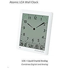 Franklin CL-1 Large Format Atomic Digital-Analog Wall Clock with Day/Date, Temperature and Humidity