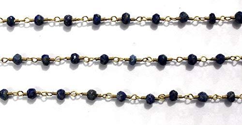 1 Feet Natural Lapis Lazuli Wire Wrapped Beaded Chain 3-3.5 mm by LadoNarayani
