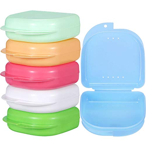 (Gejoy 6 Pieces Retainer Case Mouth Guard Case Orthodontic Denture Storage Container (Multicolor 1))