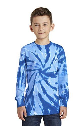 (Port & Company Boys' Essential Tie-Dye Long Sleeve Tee PC147YLS Royal Large)