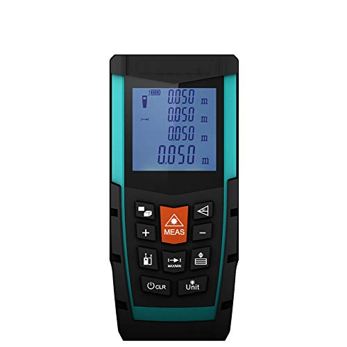 Function LED Distance Meter, Portable Handle Digital Measure Tool, Range Finder with Unique Mute and Large Backlit LCD 4 Line Display