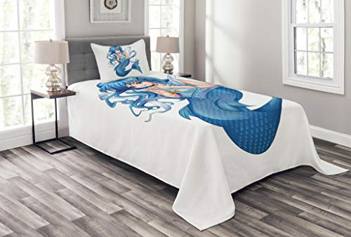 Lunarable Zodiac Pisces Bedspread Set Twin Size, Manga Style Illustration Blue Haired Mermaid Girl Holding a Zodiac Sign, Decorative Quilted 2 Piece Coverlet Set Pillow Sham, Multicolor