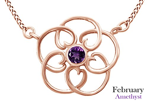AFFY Round Cut Simulated Amethyst Filigree Pendant Necklace in 14k Rose Gold Over Sterling Silver