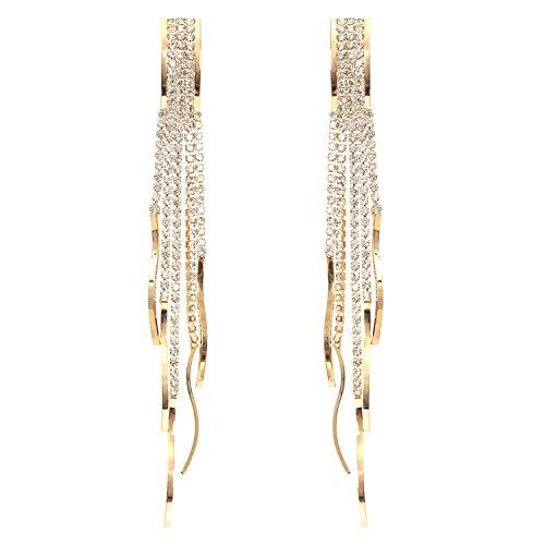 Fashion Bohemia Chandelier Clear Crystal Tassel Link Fringe Women Long Pierced Earrings (Link Costumes For Women)