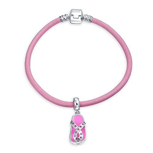 Breast Cancer Survivor Pink Ribbon Flip Flop Sandal Charm Pink Leather Bracelet For Women Sterling Silver Barrel Clasp