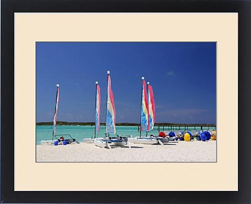 Framed Type of Caribbean, Bahamas, Castaway Cay. Sailing rentals at Castaway Cay