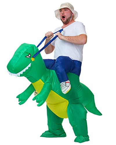 Adult Kids Inflatable Dinosaur/Ostrich/Unicorn/Horse Fancy Dress Party Costume Cloth Suit (Dinosaur-Adult)