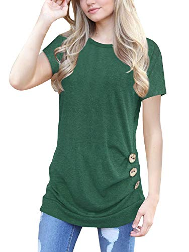 SHIBEVER Women's Casual Summer Short Sleeve Shirts Tunics Tops and Blouses Loose Comfy Round Neck Cute Side Buttons T Shirt Green XXL