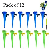 Chilartalent Vacation Water Plants Automatic Plants Watering Drip Irrigation Spikes with Slow Release Control Valve Switch - Pack of 12