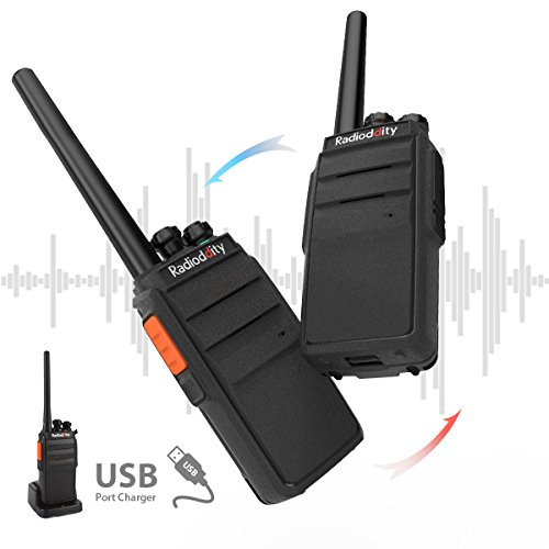 Radioddity R2 Advanced Two Way Radio UHF 400-470MHz 16 CH Scrambler VOX Rechargeable Long Range Standby time Walkie Talkies with USB Desktop Charger + Earpiece (Pack of 2) by Radioddity (Image #4)