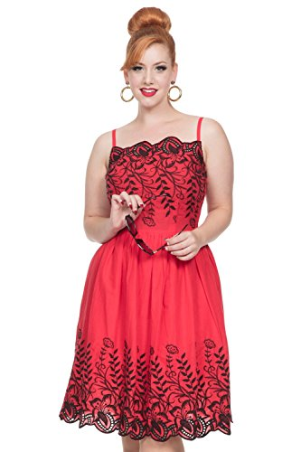 いたずらな調停する骨の折れるVoodoo Vixen - Women's Scarlett Red Embroidered Dress S
