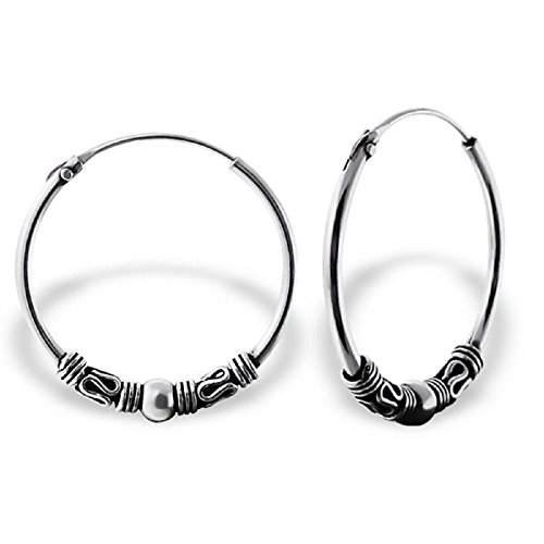 925 Sterling Silver 20mm Bali Endless Hoop Earrings 20596