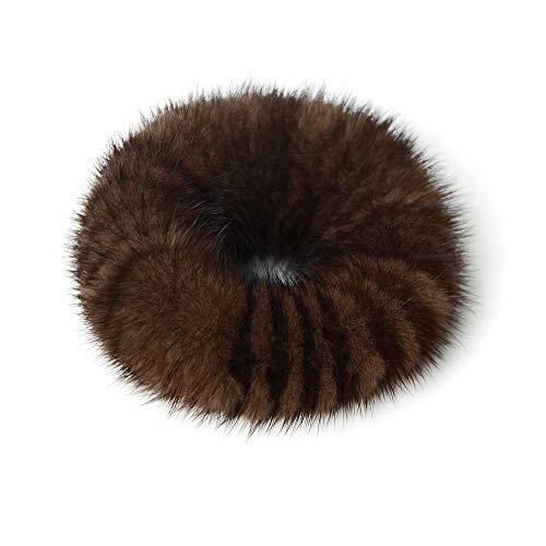 qmfur 2Pcs Mink Fur Band Rope Hair Holder Wristband Hair Ring Hair Tie Ponytail Hair Accessories (Brown)
