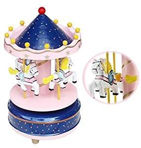 Jouet Premier Age Carrousel Boîte à Musique Carrousel Manège Joyeux en Bois Jouet Cadeau Noël pour Enfants Boîte à Musique Carrousel Boléro Sonate BGM Le Chateau Dans Le Ciel (Rouge) Baixt Groupe Limited