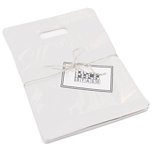 PackStash (50 QTY) 20'' x 23'' x 5'' FROSTED Semi-Transparent Retail Merchandise Plastic Shopping Bags - (XLARGE) Premium Tear-Resistant Film, Double Thick Handles, Vibrant Glossy Finish by Packstash
