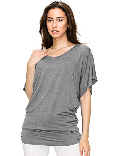 Lock and Love Women's Solid Short Sleeve Boat Crew Neck V Neck Dolman Top XS - 5XL Plus Size