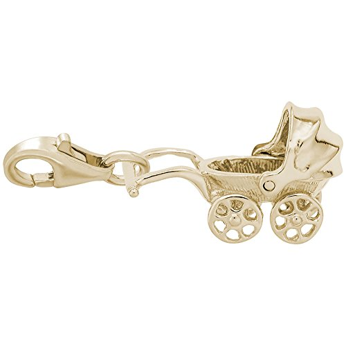 14k Yellow Gold Baby Carriage Charm With Lobster Claw Clasp, Charms for Bracelets and Necklaces
