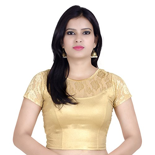 Chandrakala Womens Stretchable Readymade Gold Saree Blouse Crop Top Choli (B105),Gold-4,One Size
