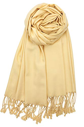 Achillea Large Soft Silky Pashmina Shawl Wrap Scarf in Solid Colors Pale Yellow