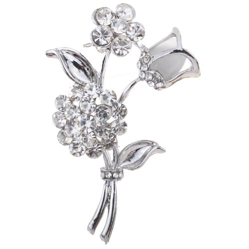 YAZILIND Jewelry Noble Rose Flower Shape Carved Full Shining Brooches and Pins Bridal -