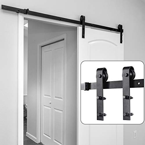 Barn Door Hardware Kit 6.6ft, Ohuhu Sliding Barn Doors Track Heavy Duty Sturdy with Online Install Video Tutorial, Easy to Install DIY Flat Track Hardware -